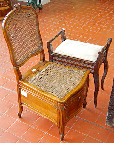 An early 18th Century style side chair,with reproduction tapestry upholstery and a commode chair and a piano stool (3)