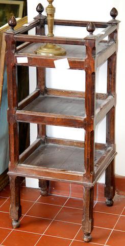 A French walnut three tier etagere,