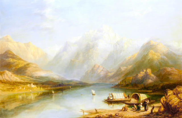 Joseph Paul Pettitt (British, 1812-1882) View of lake Como, North Italy