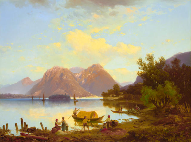 Carl Hasch (Austrian, 1834-1897) View of Lake Maggiore