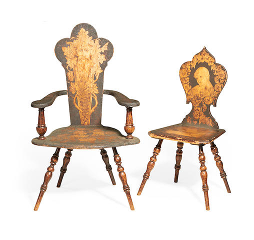 Two similar Edwardian stipple carved, stained and penwork decorated beech chairs