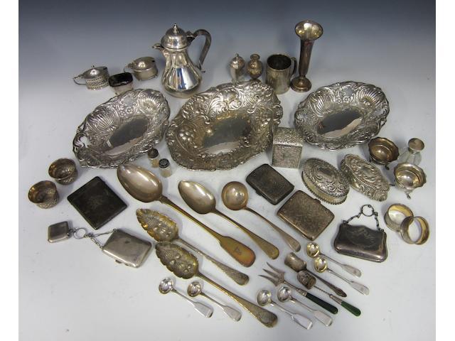 A Victorian Silver oval dish London 1885  (Qty)