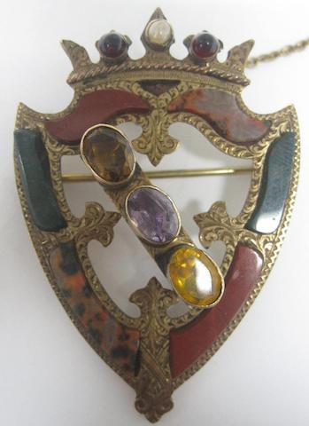 A Victorian Scottish agate and gem-set brooch