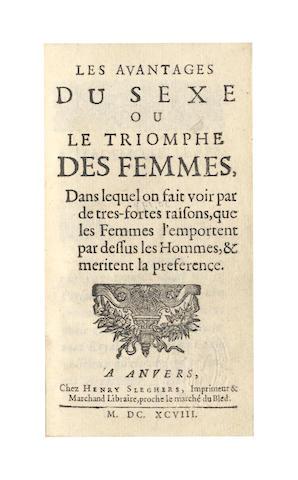 NOEL (C.M.D.) Les avantages du sexe our le triomphe des femmes, Antwerp, 1698