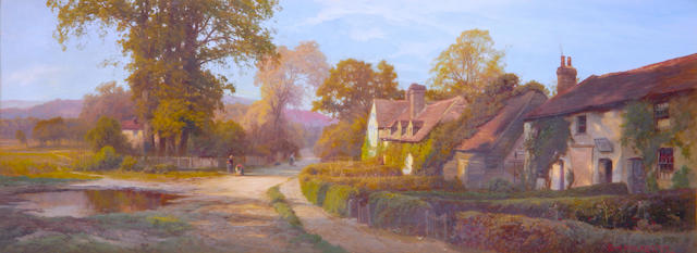 Edward Henry Holder (British, 1847-1922) Sunny afternoon in the village