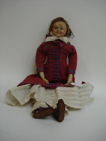Wax over composition shoulder head doll