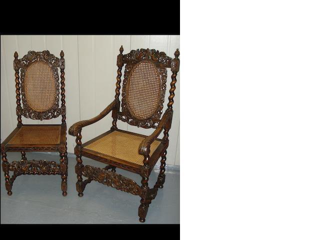 A set of 10 17th Century style carved oak dining chairs