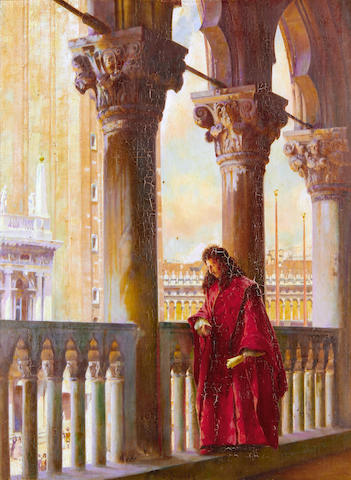 William Logsdail (British, 1859-1944) On the logia of the Doges palace, Venice