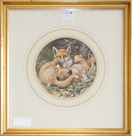 David Parry (British, born 1942) Four works including study of two playful foxes, circular mount, 17.5cm in diameter; together with three other wildlife subjects,