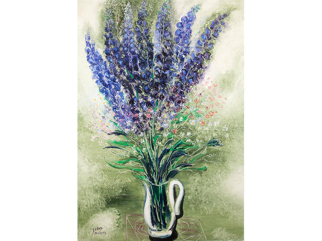 Reuven Rubin (Israeli, 1893-1974) Delphiniums, signed, oil on canvasEx. Lord Wolfson Marylebone