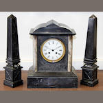 A late 19th century black slate mantel clock Unsigned 34cm