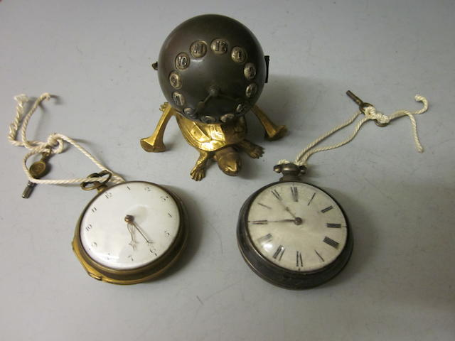 A gilt pair cased verge pocket watch, (3)