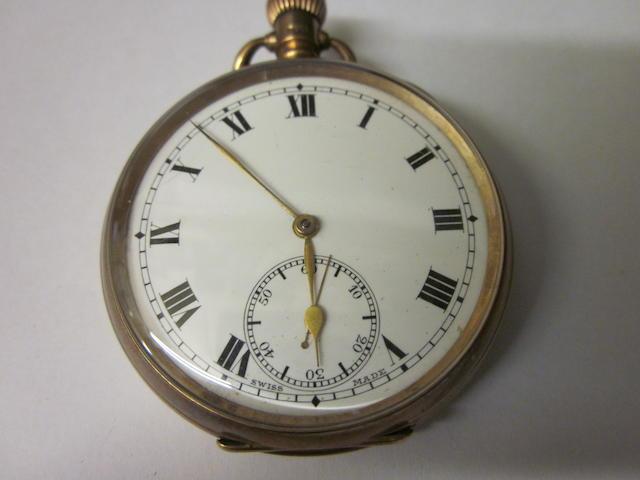 A 9 carat gold open face pocket watch,