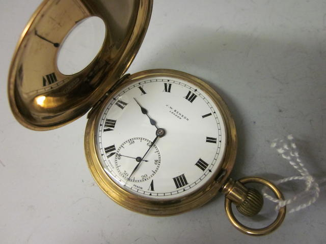 A 9 carat gold half hunter pocket watch, by J W Benson,