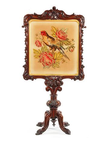 Victorian mahogany 'Rococo' firescreen