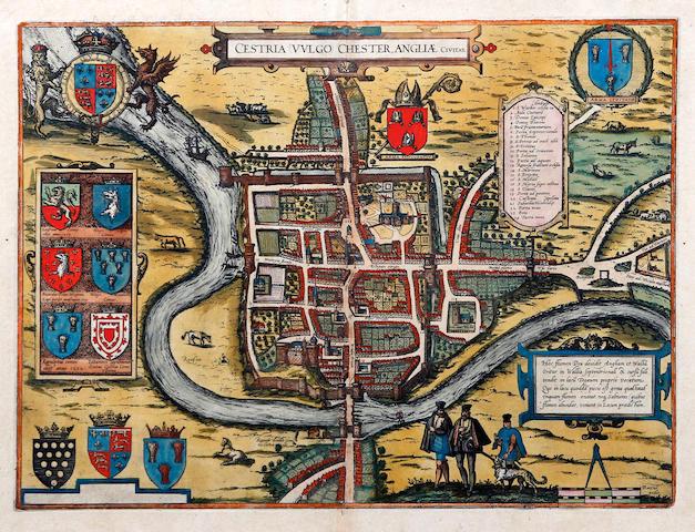 Georg Braun & Franz Hogenberg (German) Chester 'Cestria (Vulgo) Chester, Angliae Civitas'