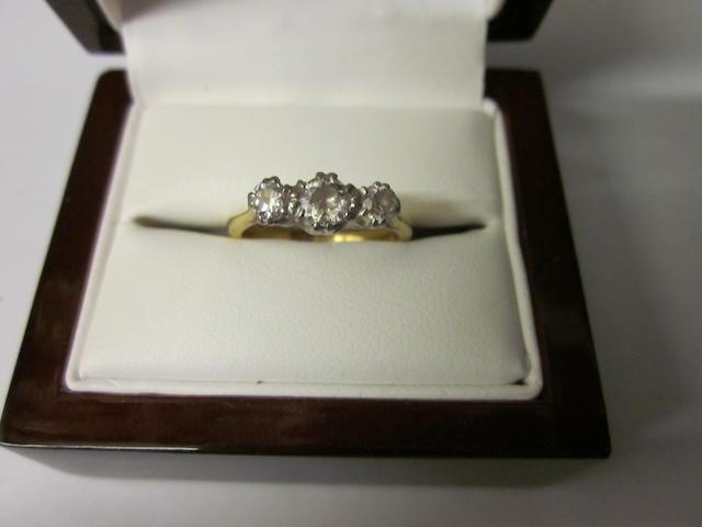 A three stone diamond ring,