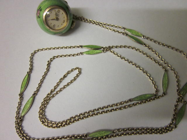 An enamelled Lotos pendant watch,