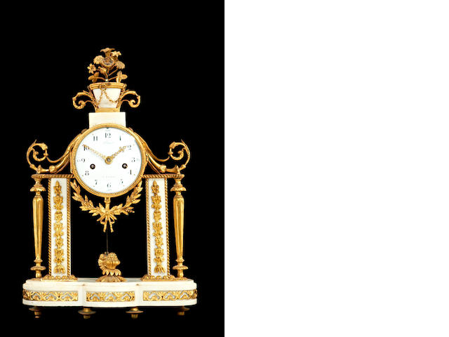 A marble and ormolu clock