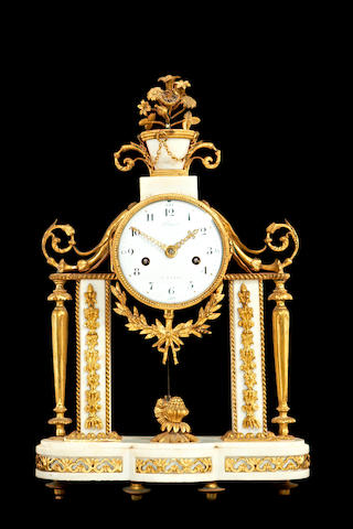 A marble and ormolu clock