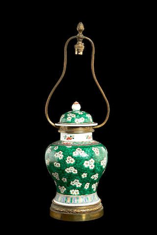 A Chinese ceramic vase later adapted as a lamp base