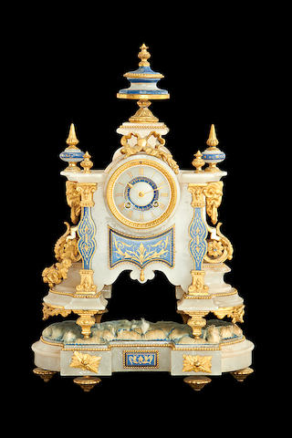 A late 19th century French alabaster and gilt metal mounted mantel clock