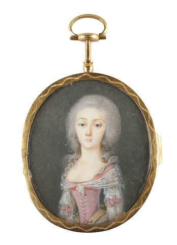French School, circa 1780 Two portrait miniatures of Ladies: the first, wearing dress of white skirt, white sleeves and pink bodice, pink ribbon bows to each sleeve, her bodice laced, white lace trim to her décolleté, a white lace kerchief draped around her shoulders and tied at her corsage, powdered wig; the second wearing sky blue dress with frilled trim to her sleeve and a white lace bow at her corsage, white slip trimmed with lace, her powdered wig dressed with pink roses and white plumes