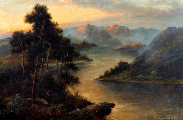William Langley (British, 1852-1922) Highland loch landscape
