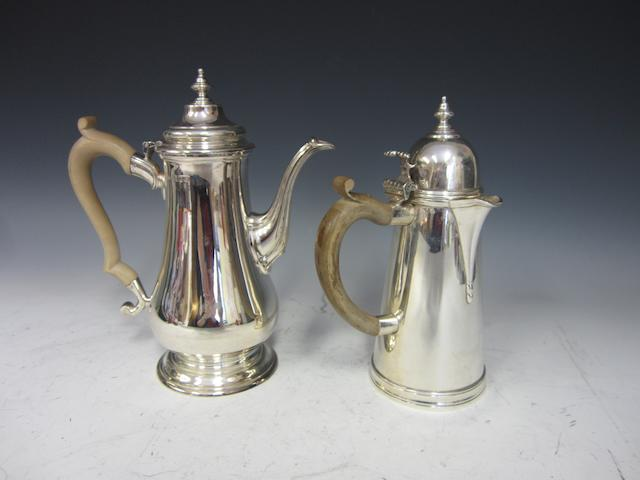 A silver baluster coffee pot  London 1963  (2)