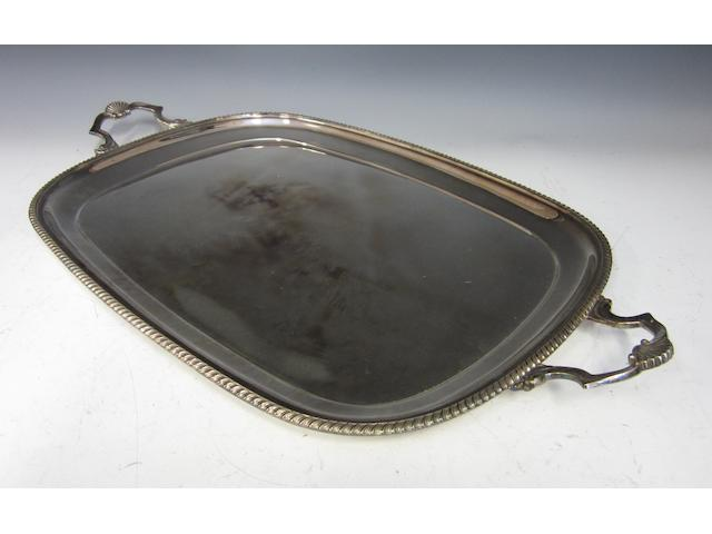 A silver two handled rectanular tray Birmingham 1977
