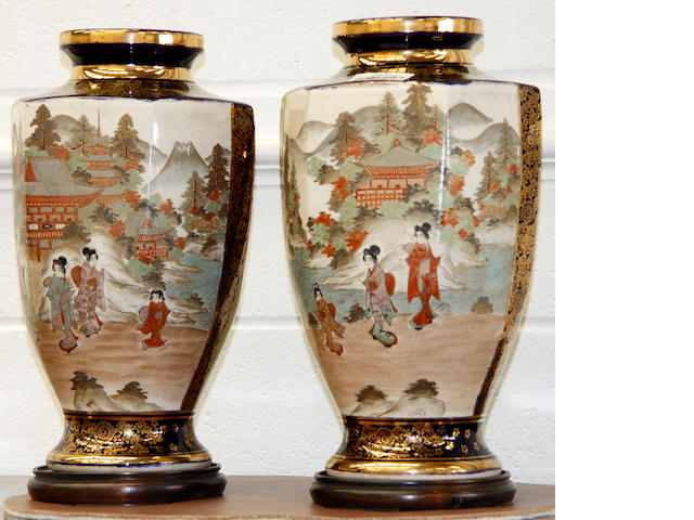 A pair of Japanese Satsuma vases early 20th Century