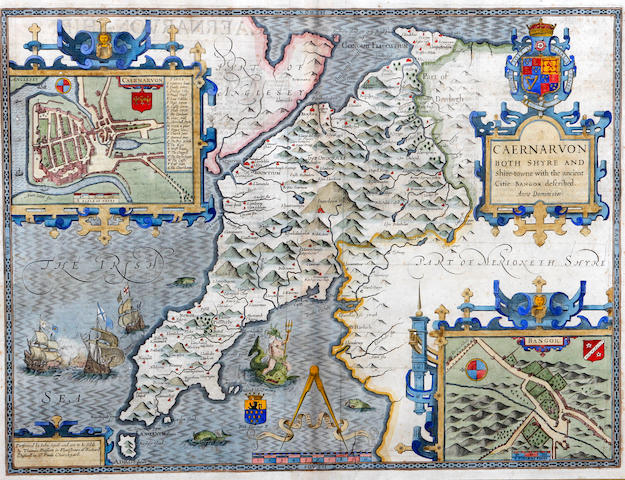 John Speed (British, 1552-1629) Caernarvonshire 'Caernarvon both Shyre and Shire-towne with the ancient Citie Bangor described. Anno Domini 1610.'