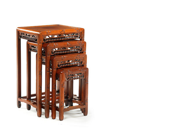 Four nest of chinese hardwood occasional tables c1900