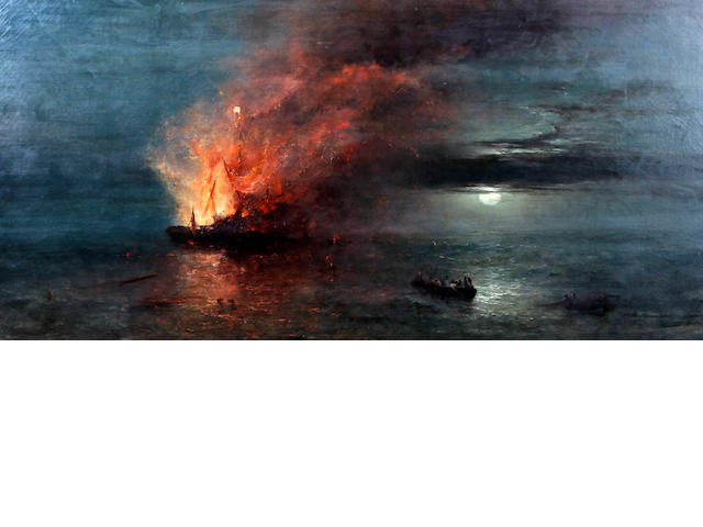 William John Roffe (British, born circa 1820-died circa 1890) Fireship by moonlight