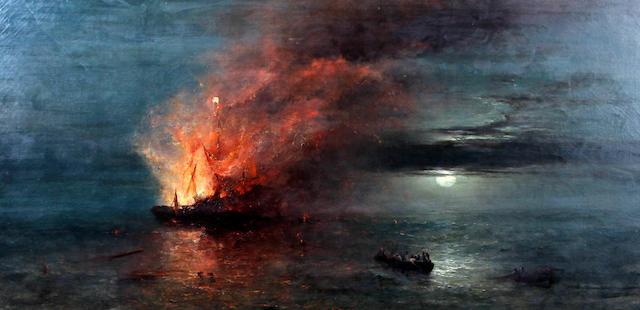 William John Roffe (British, born circa 1820-died circa 1890) Fireship by moonlight