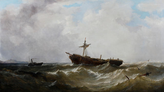 William Adolphus Knell (British, 1802-1875) Dismasted vessel under tow from a paddle tug