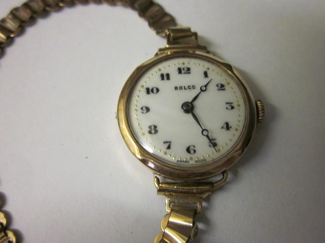 A 9 carat gold Rolco bracelet watch,