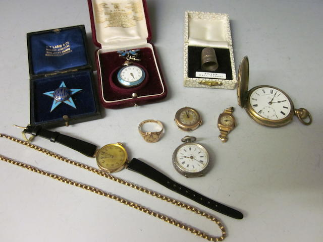 A rolled gold hunter pocket watch,  (Qty)