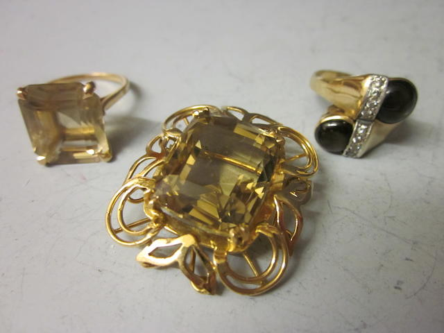 A large rectangular citrine brooch,  (3)