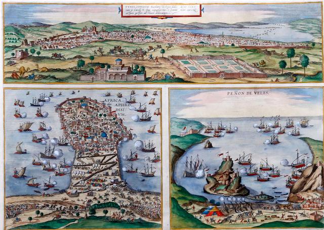 Georg Braun & Franz Hogenberg (German), North Africa - Tunis, Mahdia and Penon de Veles 'Tunes oppidum' 'Africa. Aphrodisium' and 'Penon de Veles'
