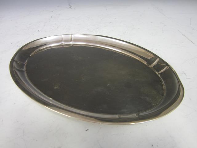 A German silver oval pin tray stamped 800