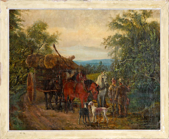 Follower of Holt, The Logging Team, oil on canvas, 49cm x 68cm