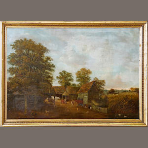 English School, circa 1840, The Farm Yard, oil on canvas, 44cm x 65cm