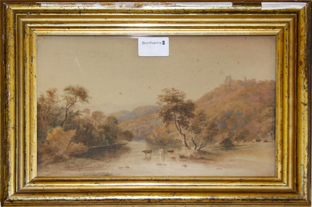 Two mid 19th Century watercolours, English school landscapes with figures and cattle, 18cm x 24cm approx, together with an oil landscape (3)