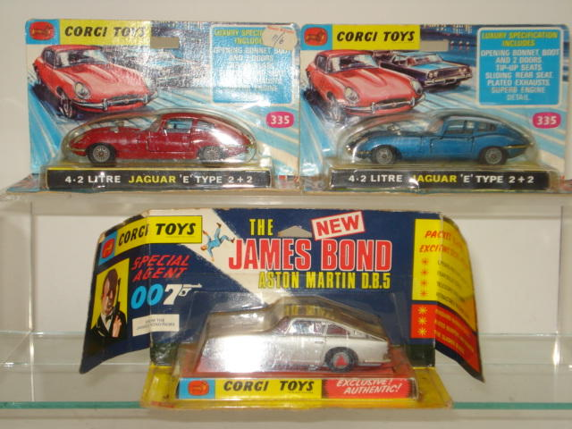 Corgi 270 James Bond's Aston Martin and two 335 Jaguar E Types 3