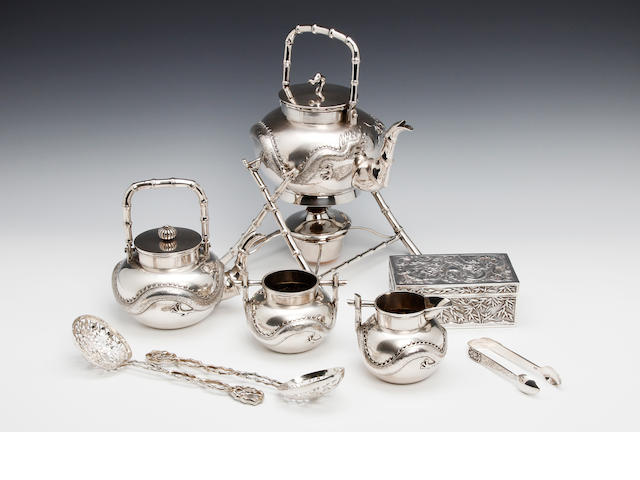 A Chinese silver five piece tea service by Luen Wo, Shanghai circa 1890