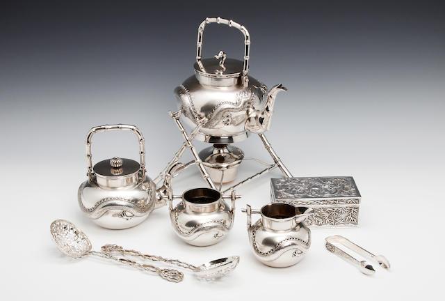 A Chinese silver five piece tea service by Luen Wo, Shanghai circa 1890