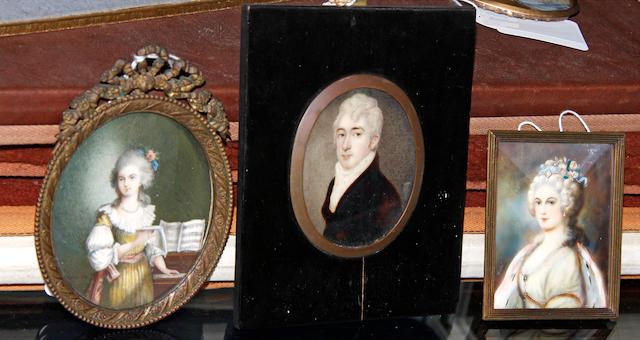 English School, circa 1800 A Gentleman, wearing brown coat, white waistcoat, chemise, stock and cravat