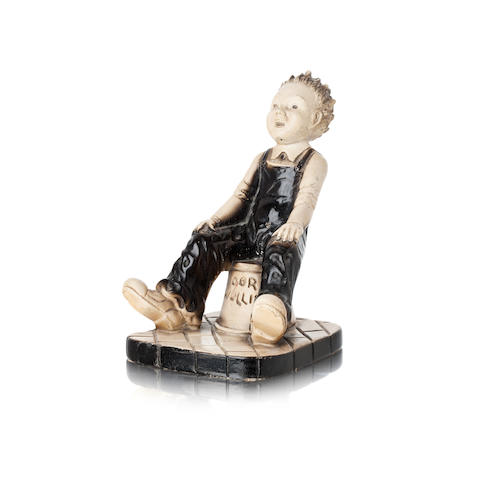 A plaster figure of 'Oor Wullie'  After the comic character created by Dudley D Watkins, circa 1960