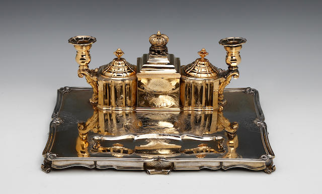 OF BELGIUM ROYAL INTEREST; A Belgium silver-gilt and silver presentation rectangular inkstand by Althenloh, Brusselles, circa 1918